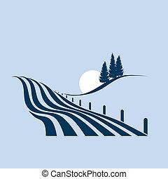 stylized, mostrando, paisagem, agrário, ilustração