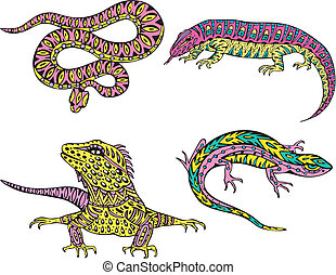 Stylized motley snake and lizards. Set of color vector ...