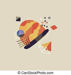 Stylized mountain picture with bright shapes on beige