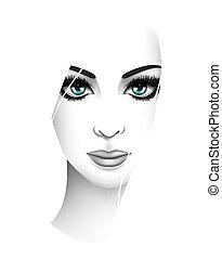 stylized, mulher jovem, portrait., beleza, moda, conceito