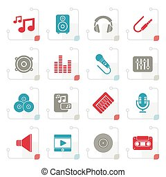Stylized Music, sound and audio icons