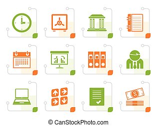 stylized, negócio, finanças, e, ícones escritório