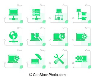 Stylized Network, Server and Hosting icons
