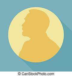 Stylized Nobel medal. Silhouette of Nobel in a flat style. Vector illustration.