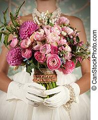 stylized, noiva, bonito, segurando, buquet