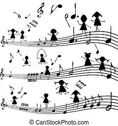 stylized, nota, silhuetas, crianças, música