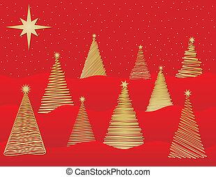 stylized, nove, árvores natal