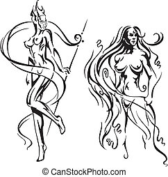Stylized nude girls. Set of black and white vector...