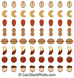 Stylized Nut Background - Eight rows of various stylized...
