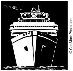 Stylized ocean liner