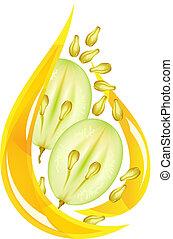 stylized, oil., semente, uva, drop.
