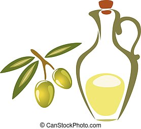 Stylized olive symbol, icon isolated vector illustration on a wh