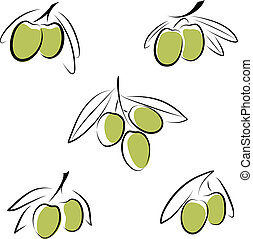 olives  - Stylized olives isolated on a white background.