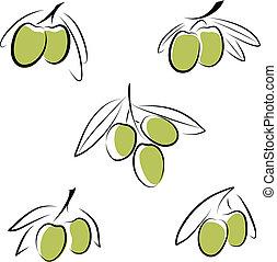 olives - Stylized olives isolated on a white background.
