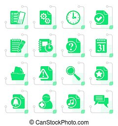 Stylized Organizer, communication and connection icons