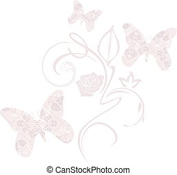 Stylized ornamental butterflies