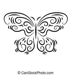 stylized, ornamental, smukke, sommerfugl, ornamental