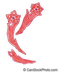 stylized, ouderwetse , watercolor, witte bloemen, rood