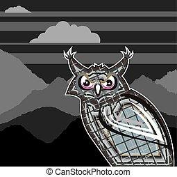 Stylized owl dark night