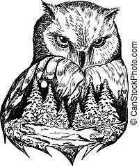 Stylized owl with nature landscape, vector ink hand drawn illustration