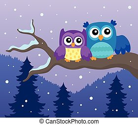 Stylized owls on branch