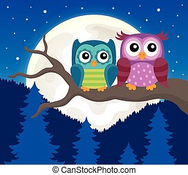 Stylized owls on branch theme
