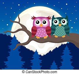 Stylized owls on branch theme