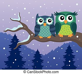 Stylized owls on branch theme image 4