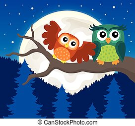 Stylized owls on branch theme image 5 - eps10 vector...