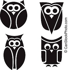 Stylized owls on white background.
