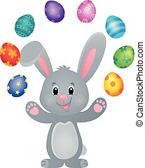 stylized, påsk kanin, tema