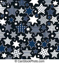 stylized, padrão, estrelas, seamless, fundo