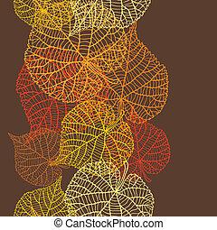 stylized, padrão, seamless, leaves., outono, vetorial