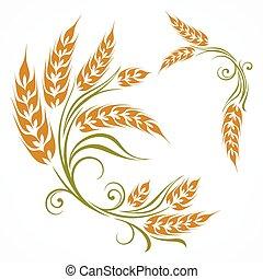 stylized, padrão, trigo