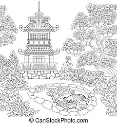 stylized, pagoda, zentangle