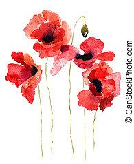 stylized, papoula, flores, ilustração
