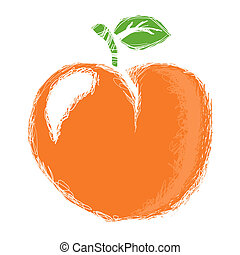 Stylized peach isolated on a white background.