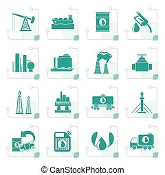 Stylized Petrol and oil industry icons