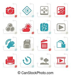 Stylized Photography and Camera Function Icons - vector icon...
