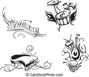stylized piano and percussion - Stylized piano and...