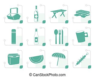 Stylized Picnic and holiday icons