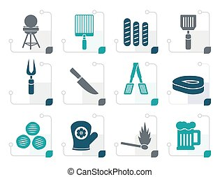 Stylized picnic, barbecue and grill icons