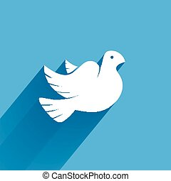 Stylized pigeon of peace white icon with long shadow in the sky