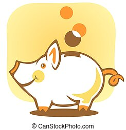 piggy bank - Stylized piggy bank and coin on a yellow...