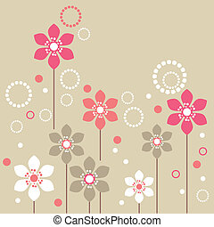 Stylized pink and white flowers on beige background