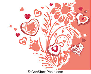 Stylized plant with red contour heart shapes