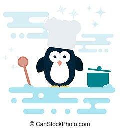 stylized, plat, houten, karakter, kok, pot., lepel, penguin