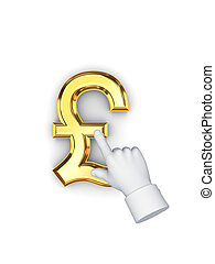 Stylized pointing hand and symbol of pound sterling. Isolated on white background.3d rendered.