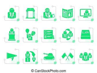 stylized, politiek, verkiezing, en, politieke partij, iconen