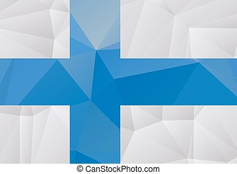 Stylized polygonal flag of Finland isolated on a white background.
